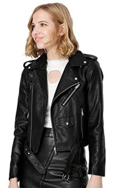 Jhichic Faux Leather Moto Jacket