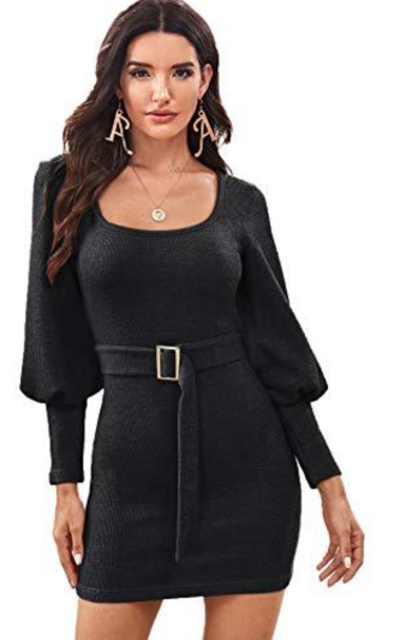 ROMWE Bishop Sleeve Belted  Sweater Dress