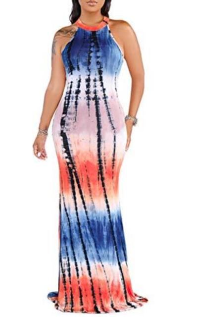 FairBeauty Racerback Tie Dye Maxi Dress