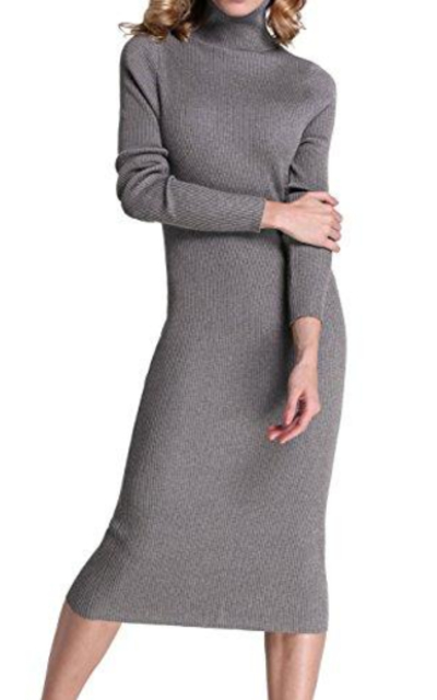 Rocorose Turtleneck Ribbed Knit Sweater Dress