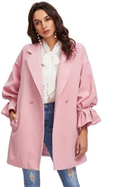 Milumia Drop Shoulder Pearl Ruffle Coat