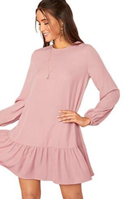 MakeMeChic  Ruffle Hem Tunic Dress