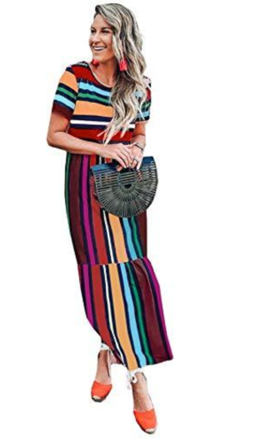 FSSTORY Rainbow Stripes Maxi Beach Dress