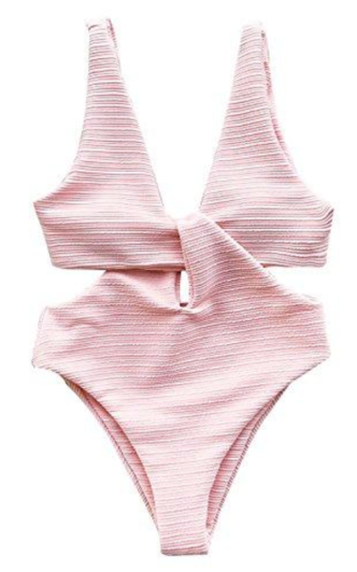 CUPSHE Solid Pink High Waisted One-Piece Swimsuit
