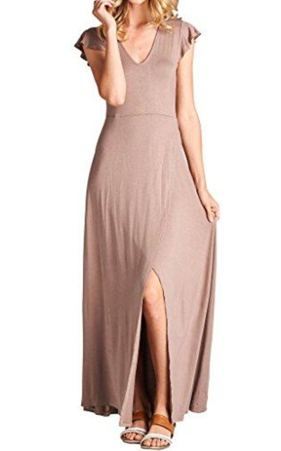Loving People Solid Ruffled Cap Maxi Dress