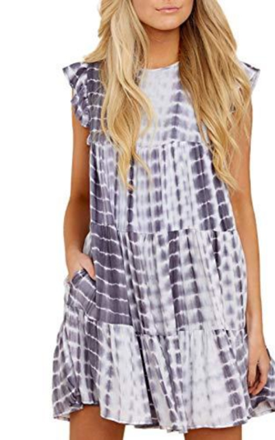 Dokotoo Tie Dye Babydoll Swing Tunic Mini Dress