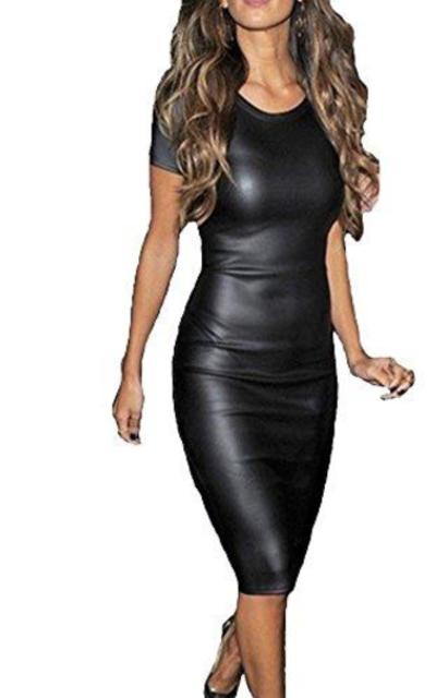 KUFV Pu Leather Short Sleeve Bodycon Pencil Dress