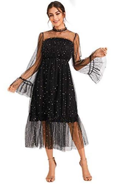 Verdusa Elegant Frilled Neck Bell Sleeve Mesh Overlay A-Line Dress