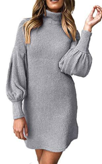 Tkria Turtleneck Ribbed Knit Puff Sweater Dress