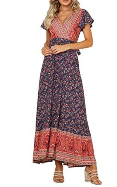 R.Vivimos Floral Print Bohemian Wrap Dress