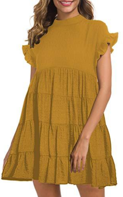 MIHOLL  Ruffle Babydoll Mini Dress