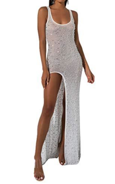 AKIRA Diamond Pearl Embellished See Through Scoop Tank High Slit Maxi Dress