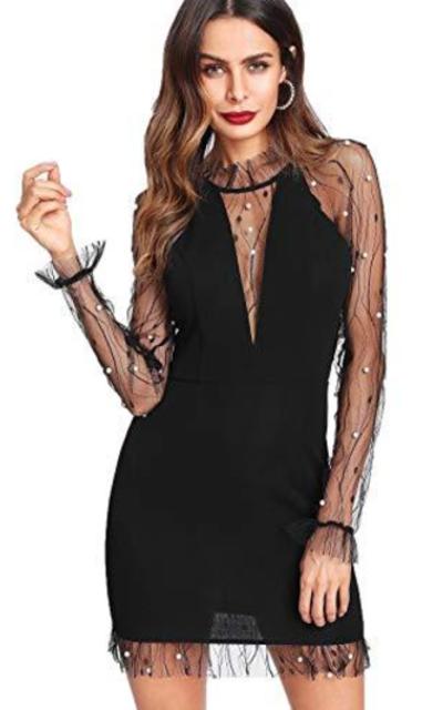 Floerns Pearl Beaded Mesh Sleeve Bodycon Dress