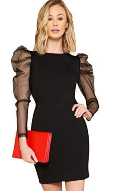 SheIn Puff Mesh Sleeve Dress
