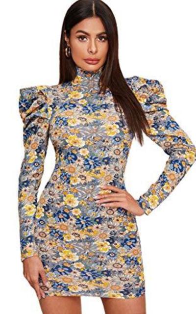 Floerns Puff Sleeve Dress