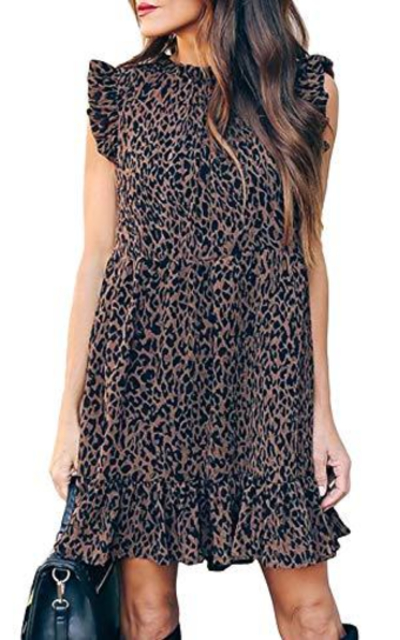Ecrocoo Ruffle Sleeve Leopard Print Dress