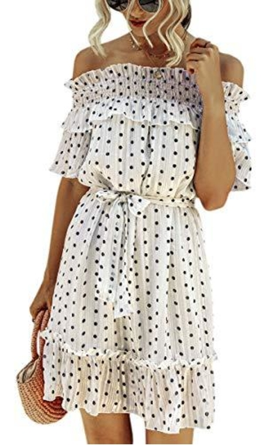 ECOWISH Ruffle Off Shoulder Polka Dot Dress