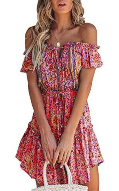 GAMISOTE  Boho Floral Print Mini Dress