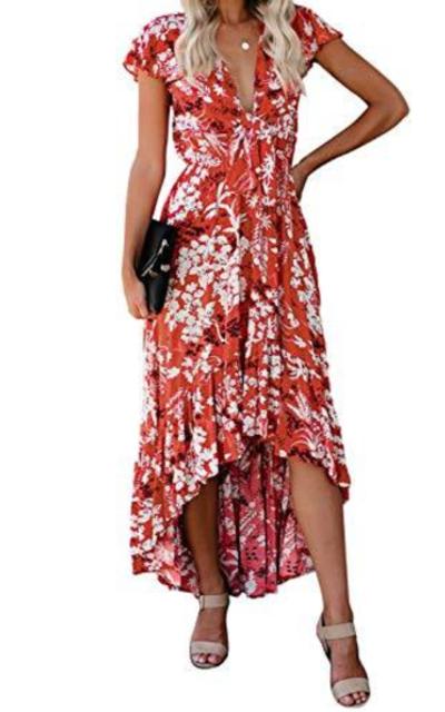 FARYSAYS Floral Print Ruffle High Low Tie Maxi Dress