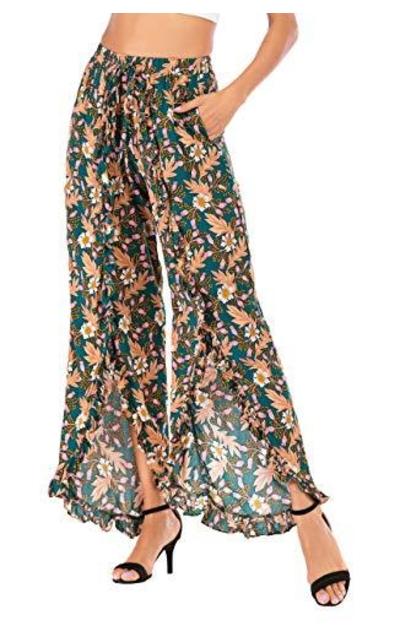 Floral Slit Ruffled Flounce Coverup Pants