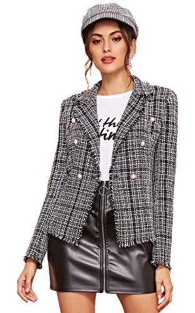 SheIn Notch Collar Double Breasted Tweed Blazer