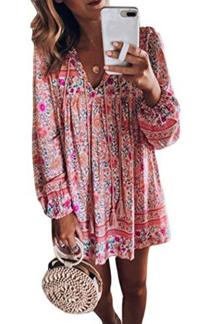 Bohemian Floral Tunic  Mini Dress
