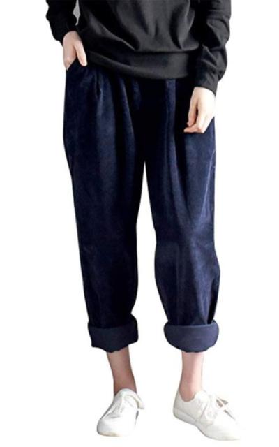 IDEALSANXUN Corduroy Elastic Waist Trousers
