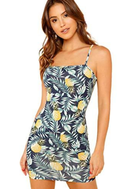 Floerns Tropical Pineapple Print Cami Bodycon Dress