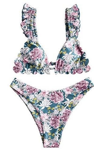 ZAFUL Plunging Front Knotted Bikini Set