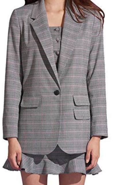 May You Be Plaid Check One Button Blazer Jacket
