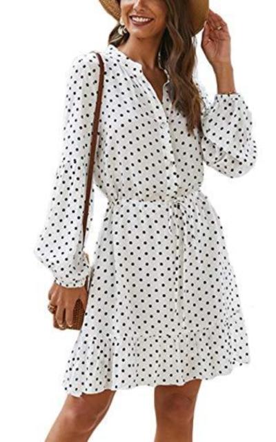 Kaei&Shi Lantern Sleeve Polka Dot Dress for Women, Button Down Ruffle Hem Mini Dress