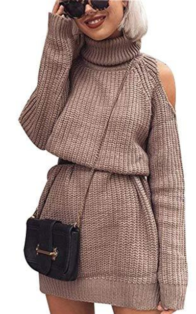 PYL Cold Shoulder Turtleneck Sweater Dress