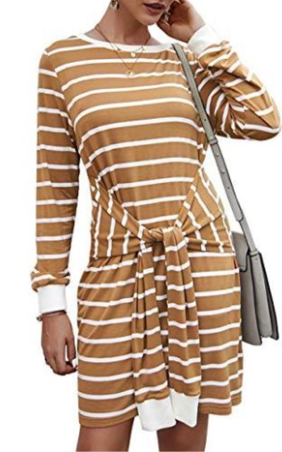 KIRUNDO Front Tie Waist Midi Dress