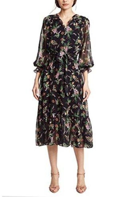 HAOYIHUI Floral Print Midi Dress