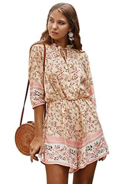 Wellwits Summer Floral Print Romper