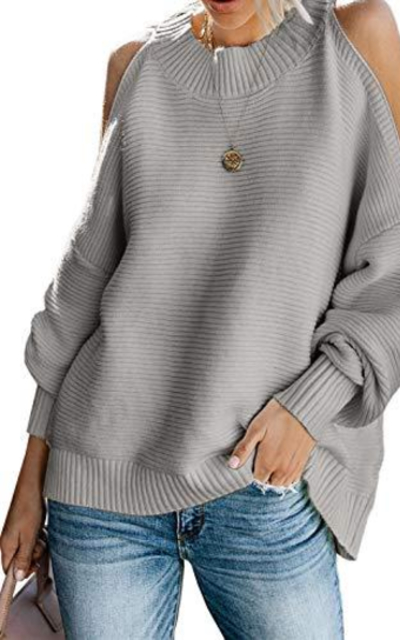 Dearlovers Cold Shoulder Ribbed Sweater