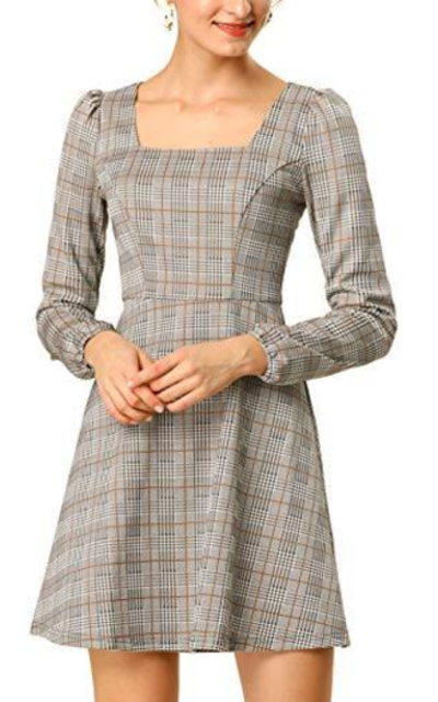Allegra K Square Neck Plaid Vintage Mini Dress