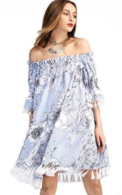 SheIn Print Off Shoulder Tassel Trim Dress