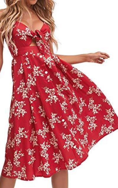 FANCYINN Red Floral Prints Tie Midi Dress