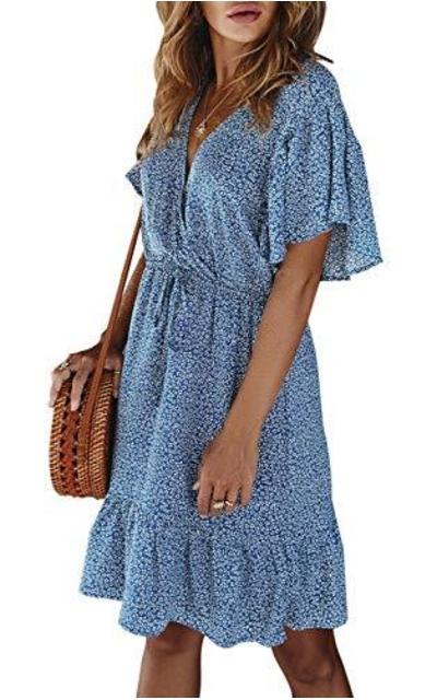 Floral Ruffle Hem Mini Dress