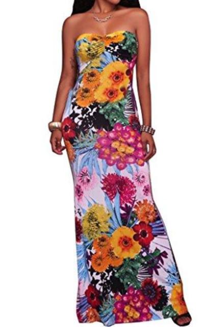CutieLove Floral Print Bandeau Maxi Dress