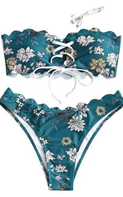 ZAFUL Scalloped Ribbed Floral Lace Up Bandeau Bikini Set