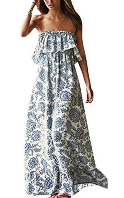 Yidarton Blue and White Porcelain Strapless Boho Maxi Dress