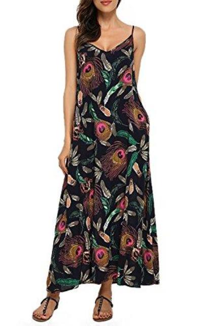 StyleDome Peacock Maxi Dress