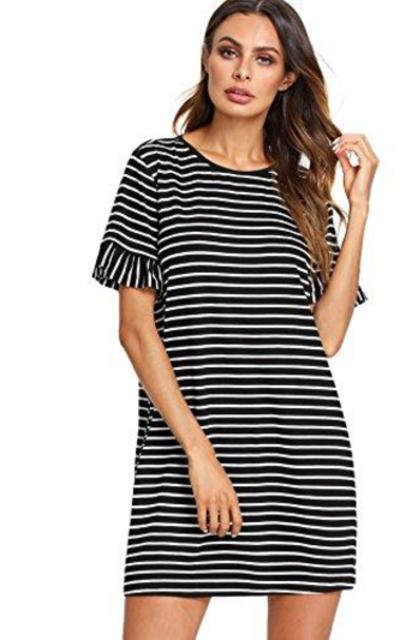Floerns Striped Short Sleeve Swing T-Shirt Dress