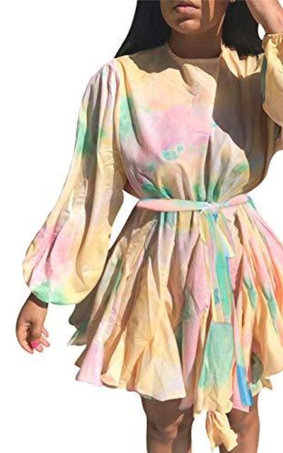 Haloladies Chiffon Floral Print Ruffle  Mini Dress