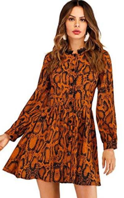 Floerns Printed A-Line Dress