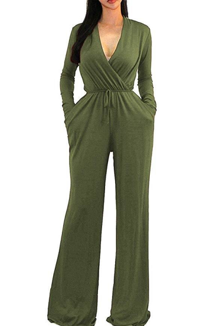 OURS S Wrap Wide Leg Jumpsuits Rompers with Pockets
