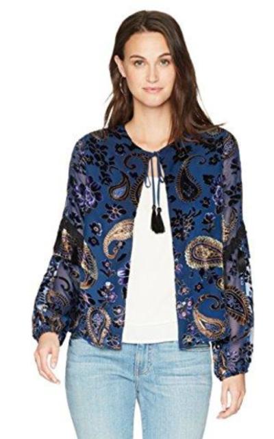 Ella Moon Nala Burnout Velvet Print Tassel Trim Jacket