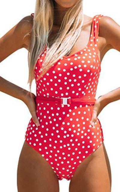 CUPSHE Red Polka Dot Belted One Piece Swimsuit